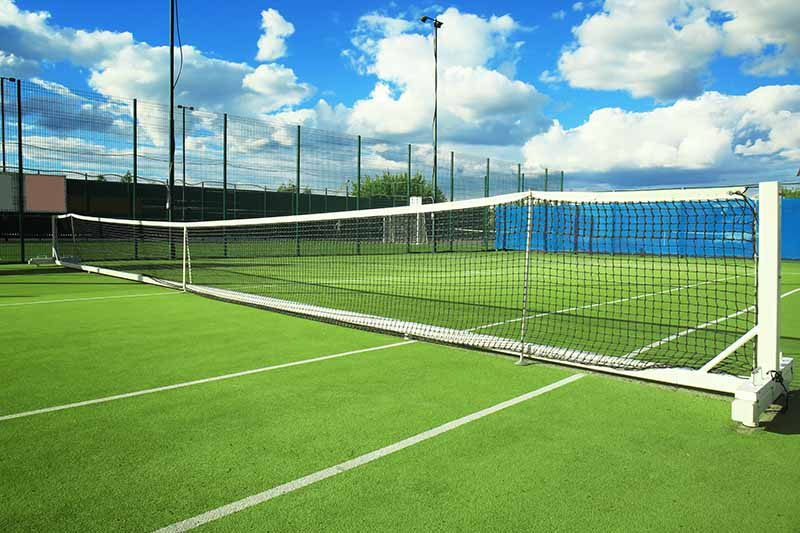 Beautiful tennis court on sunny day