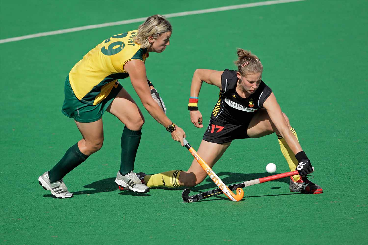 Tarryn Bright and Anne-Sophie van Regemortel in action during a women's field hockey match between South Africa and Belgium, Bloemfontein, 7 February 2011
