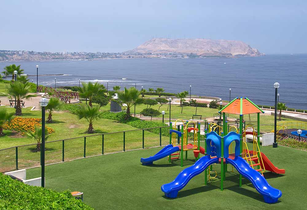"Playground in a park on the ""Costa Verde"" (""Green Coast"") in Miraflores, Lima, Peru"